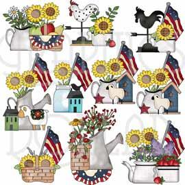 Americana Sunflowers Clip Art