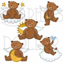 Angel Bears - Clip Art Set of 5 Bears
