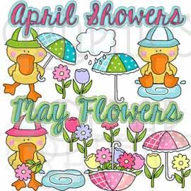 April Showers Ducks Clip Art