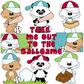Bestie Bears Ballgame Clip Art - Exclusive Graphics
