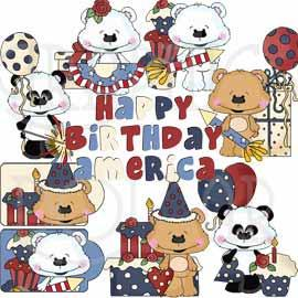 Happy Birthday America Bestie Bears Exclusive Clip Art