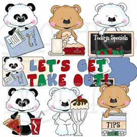 Take Out Food Bestie Bears - Exclusive Clip Art