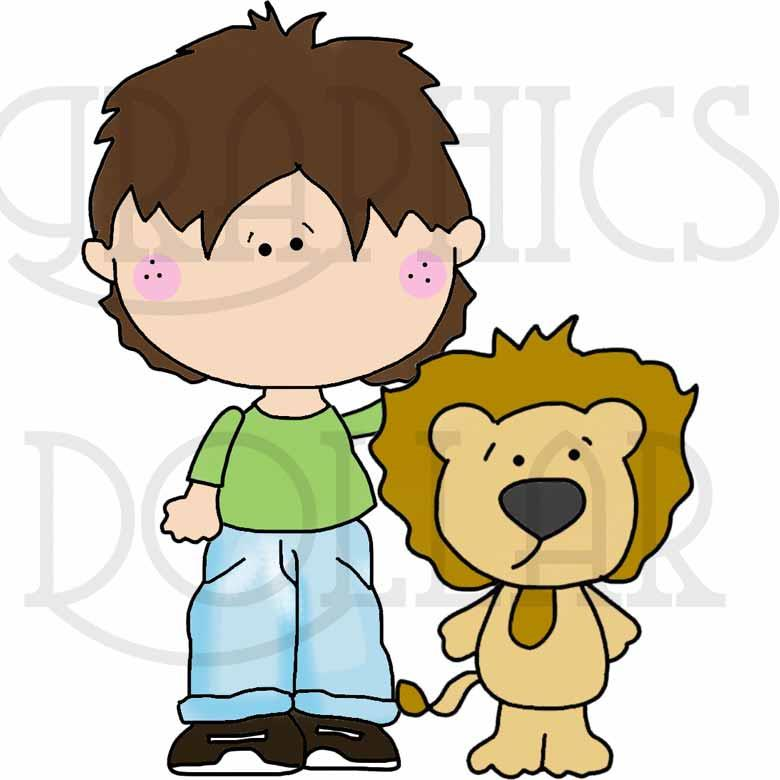 Blue Jean Kids Visit the Zoo Clip Art