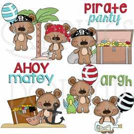 Boppy Bear Pirate Party Clip Art
