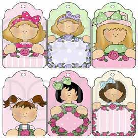 Bow Girl Tags Clip Art