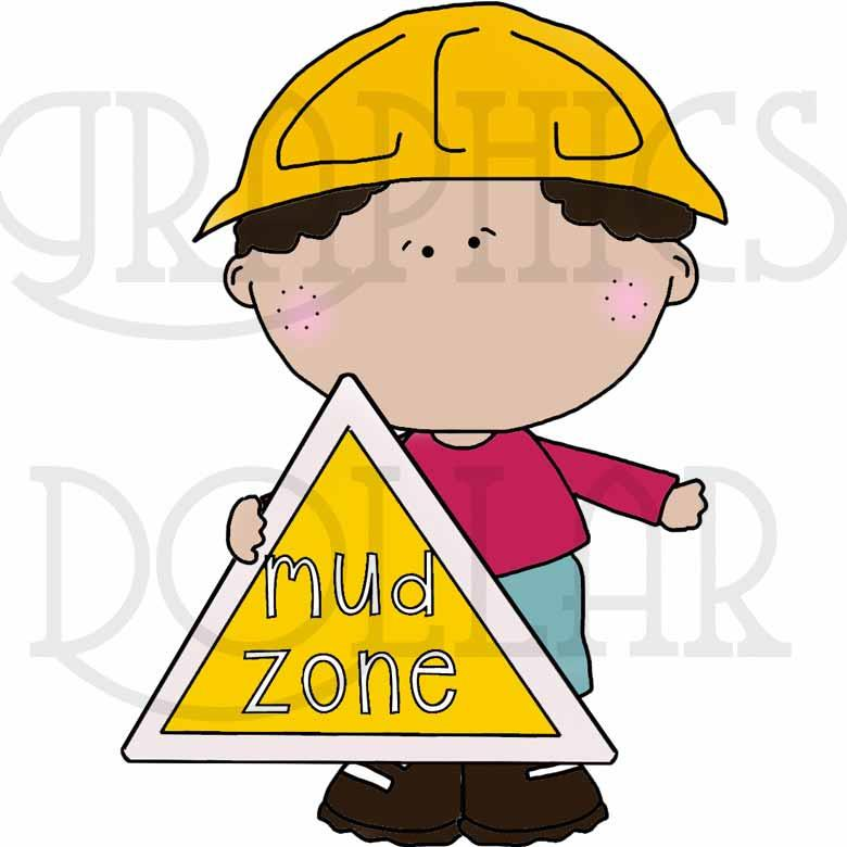 Boys and the Mud Zone Clip Art