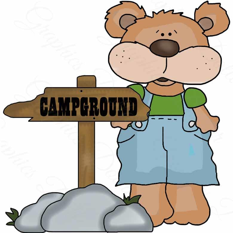 Camping with Little Overall Bear Clip Art