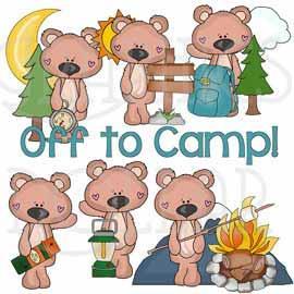 Camping with Tall Bear Clip Art