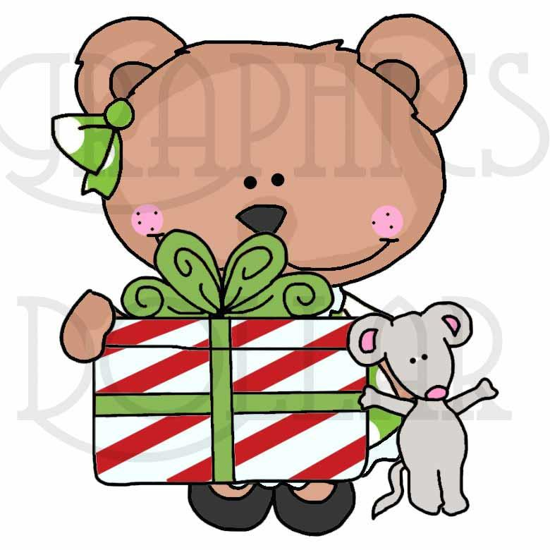 Christmas with Bella Bear Clip Art