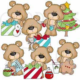 Christmas with Goober the Bear Clip Art