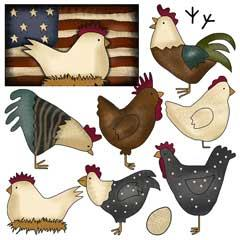 Country Chickens Clip Art