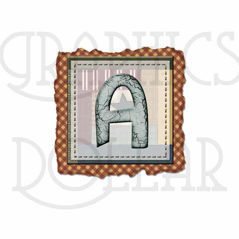 Country Quilt Alphabet Clip Art