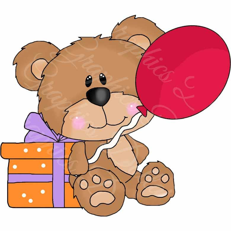 Cute Teddy Birthday Clip Art