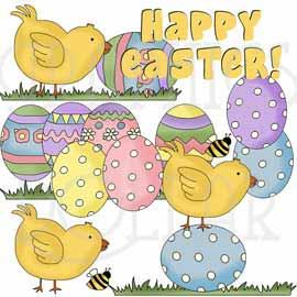 Easter Eggs and Chicks Clip Art
