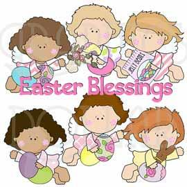 Flying Easter Angels Clip Art