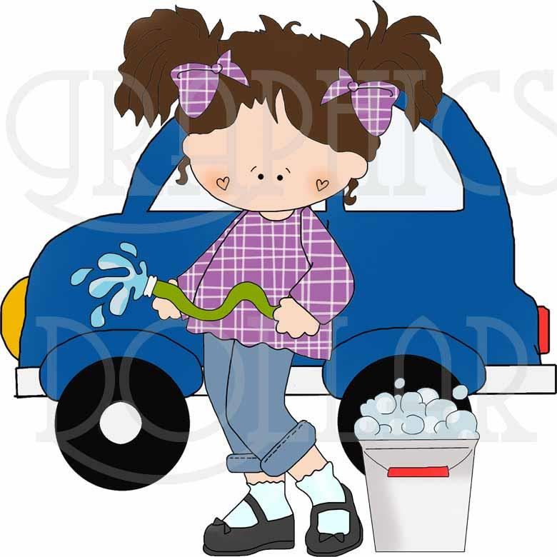 Girls at the Car Wash Clip Art
