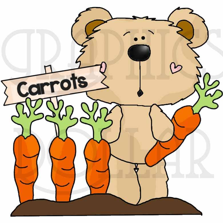Goofy Bear Loves His Veggies Exclusive Clip Art