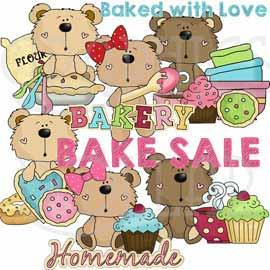 Bake Sale with Goofy Bears - Exclusive Clip Art