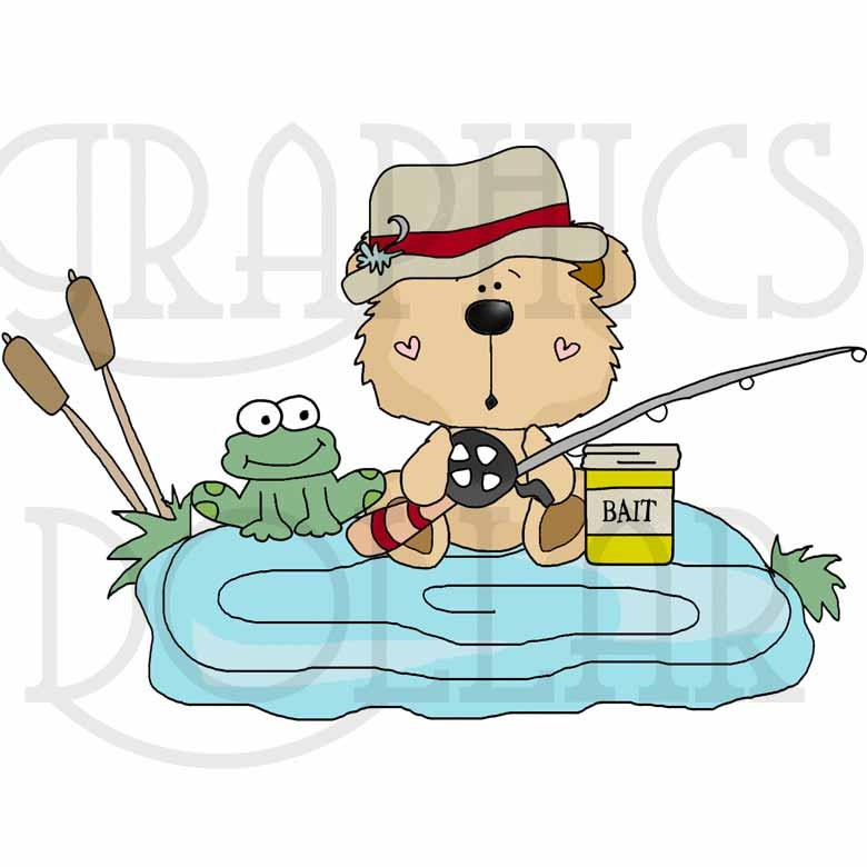 Goofy Bears Go Fishing Exclusive Clip Art