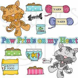Kitty Paw Prints on My Heart Clip Art