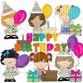 Little Bright Birthday Girls Clip Art