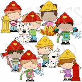 Little Firefighters Clip Art