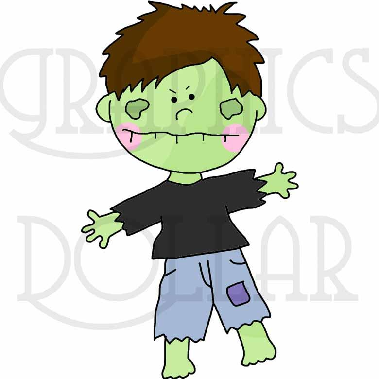 Little Halloween Zombies Clip Art