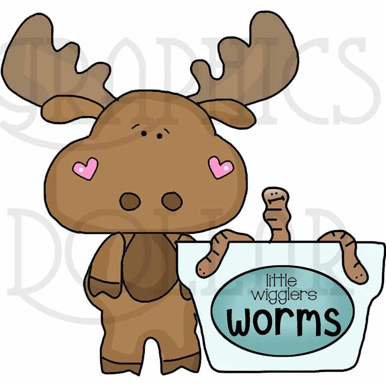 Little Moose Goes Fishing Clip Art