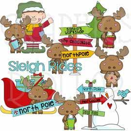Little Moose Sleigh Rides Clip Art