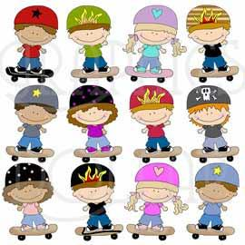Little Skateboard Kids Clip Art