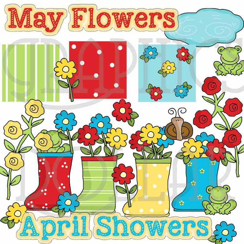 April Showers Flowers and Frogs Clip Art