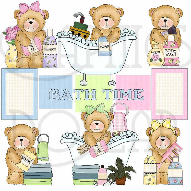 Bathtime with Chubby Cubby Clip Art