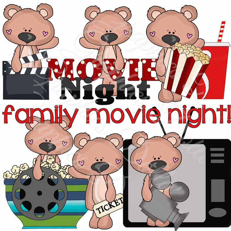 Bear Movie Night Clip Art