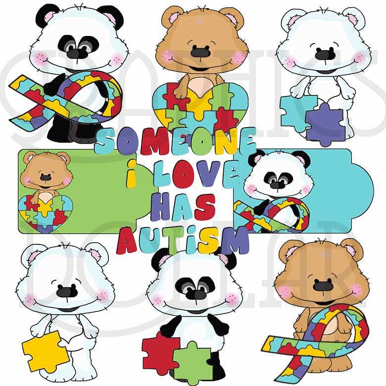 Autism Bestie Bears Clip Art - Exclusive Graphics