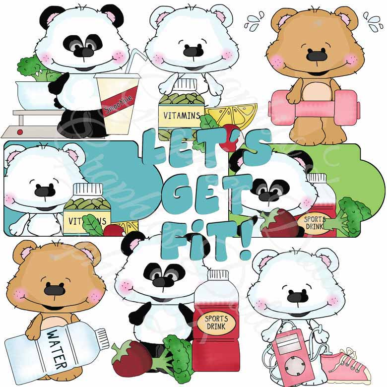 Gettin' Fit Clip Art Bestie Bears - Exclusive Graphics