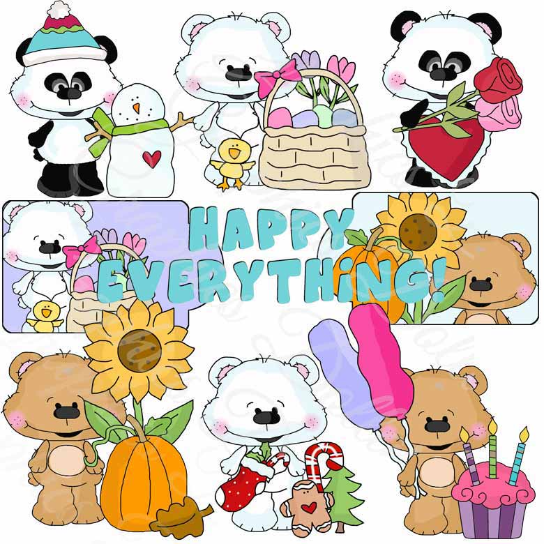 Happy Everything Bestie Bears Clip Art - Exclusive Graphics