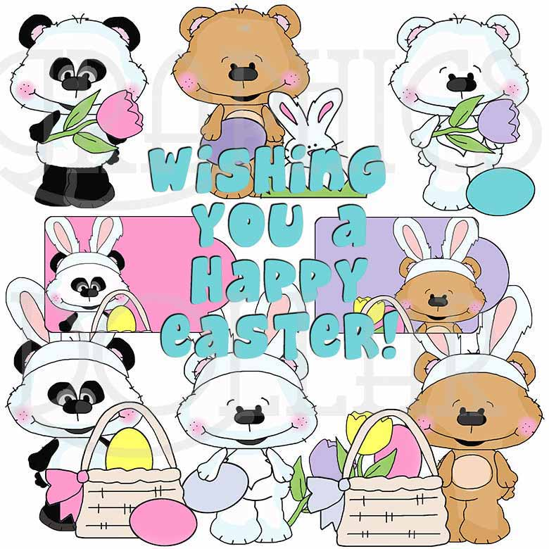 Bestie Bears Love Easter Exclusive Clip Art