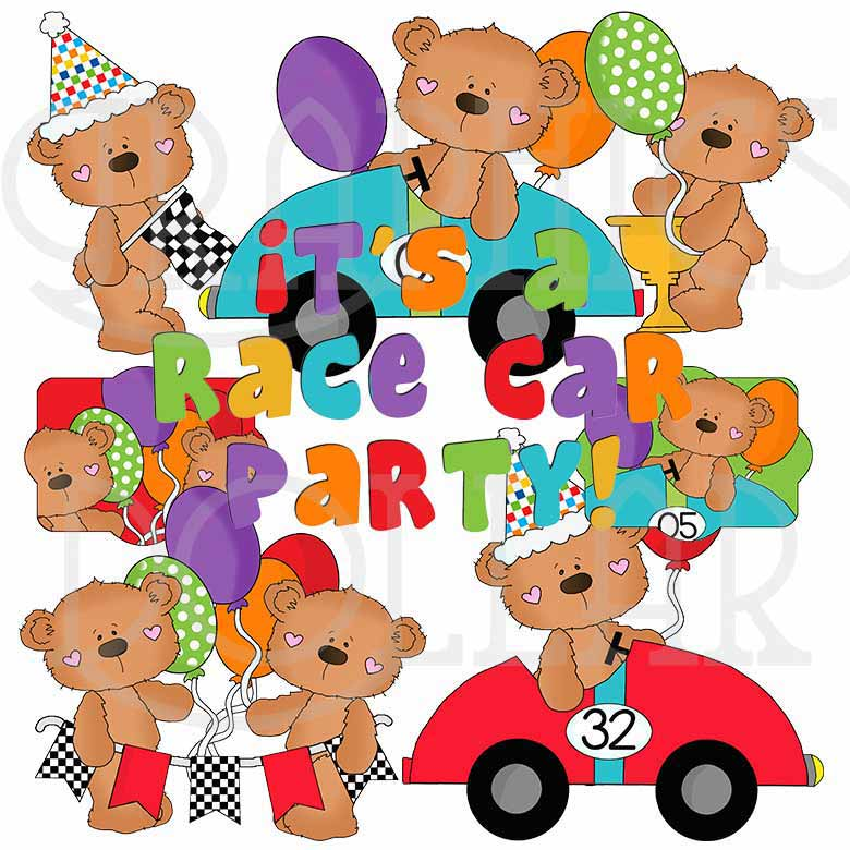 Boo Bear Race Car Party Exclusive Clip Art