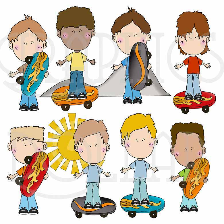 Boys at the Skate Park Clip Art