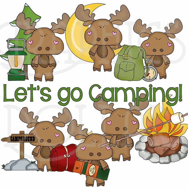 Camping with Little Moose Clip Art