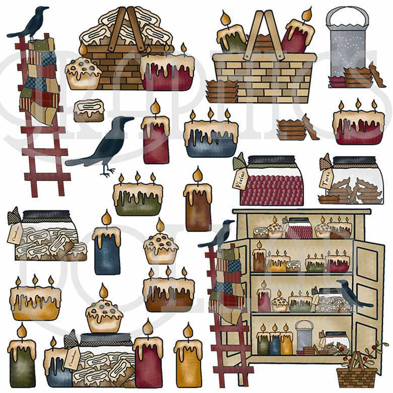 Candles and Crows Collection Clip Art