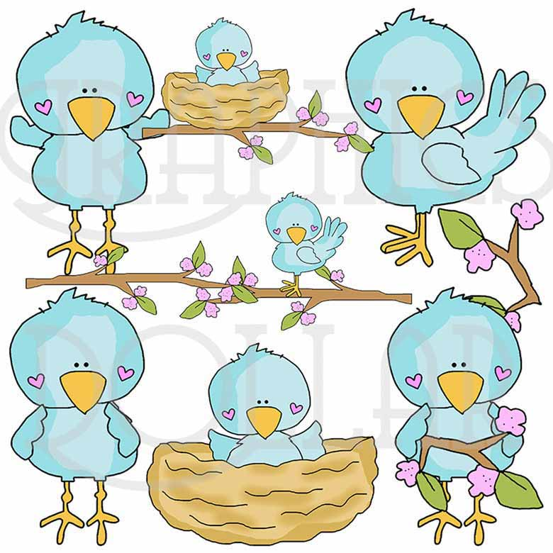 Cherry Blossom Birdies Clip Art