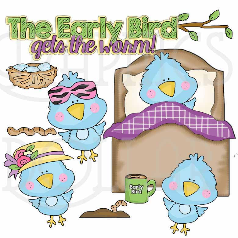The Early Bird Gets the Worm Clip Art