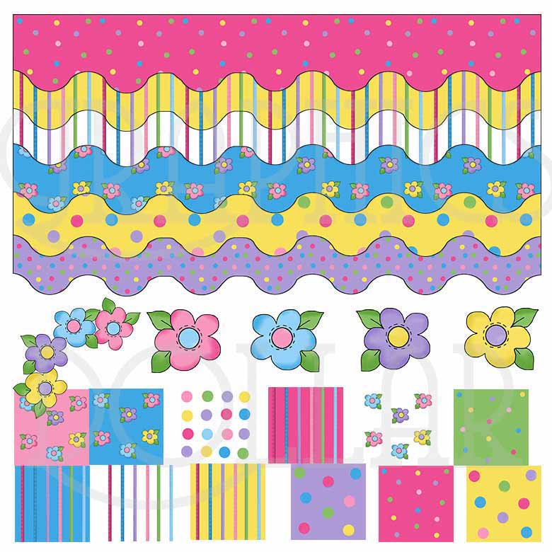 Flowers Borders and Papers Clip Art