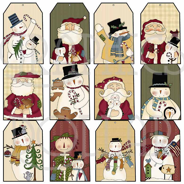Folkart Christmas Tags
