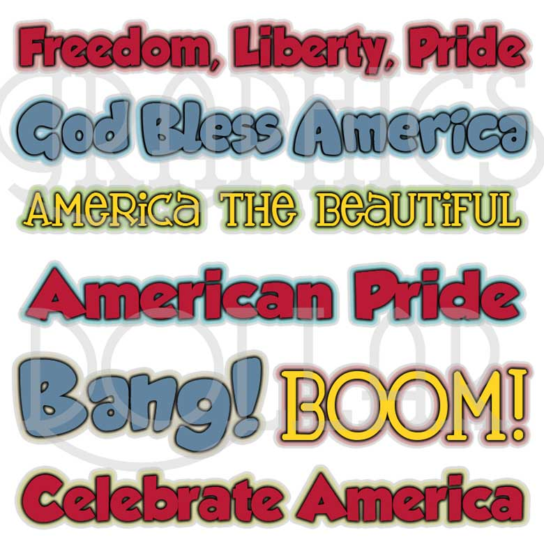 Freedom, Liberty, Pride WordArt