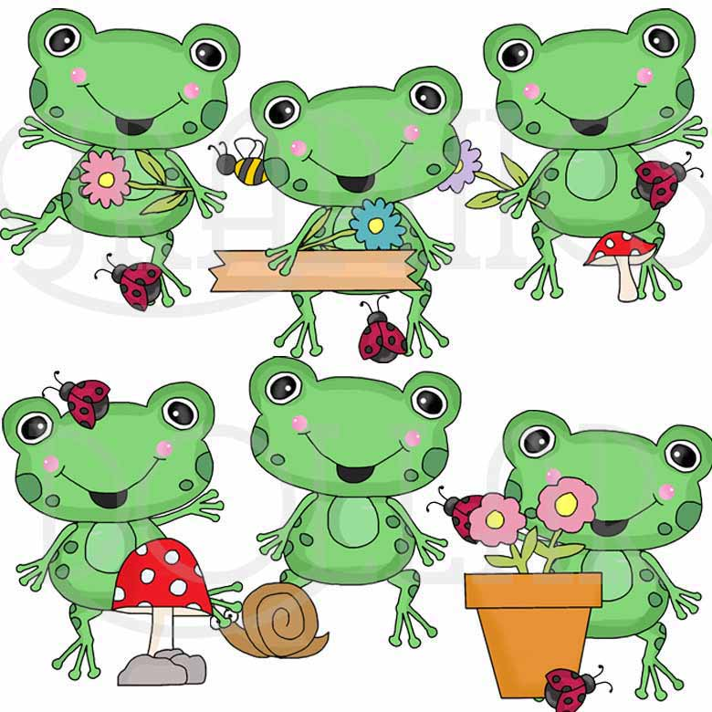 Frog and Lady Bug Clip Art