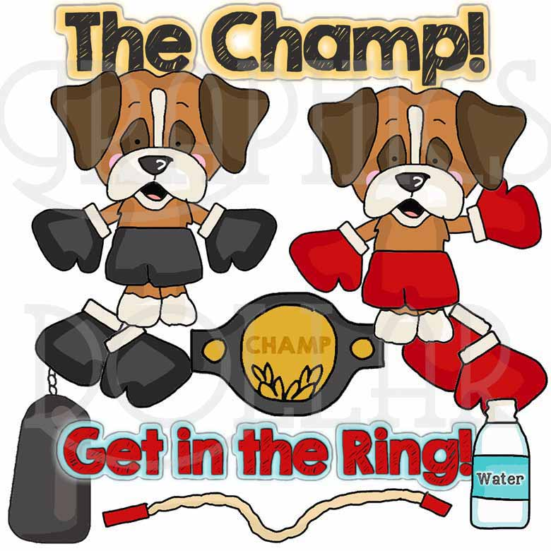 Little Boxing Dogs Clip Art