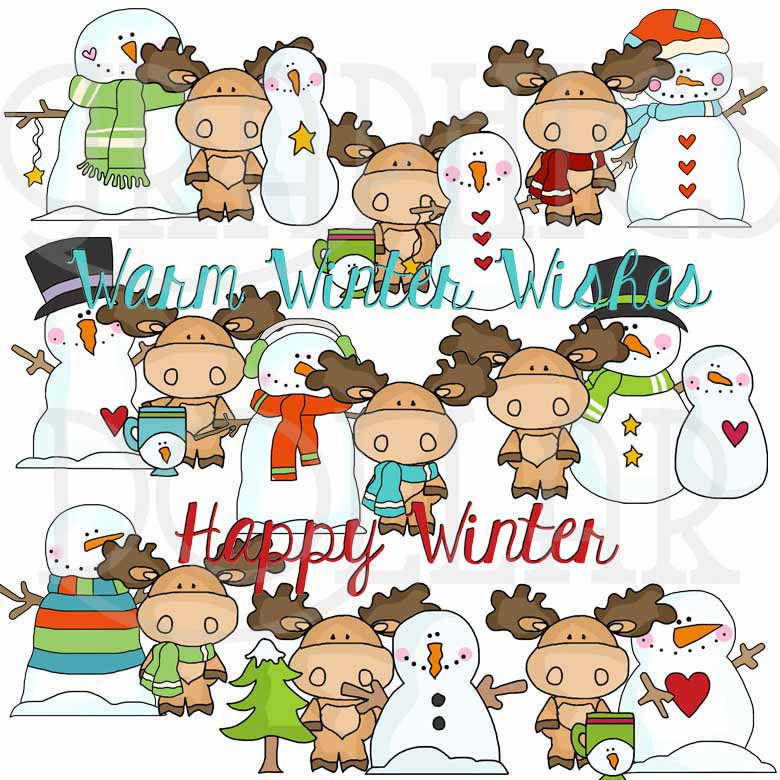 Little Moose Winter Exclusive Clip Art