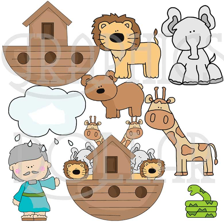 Little Noah and the Ark Clip Art